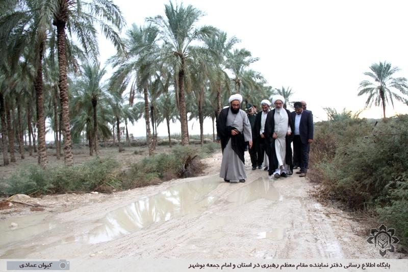 بازدید آیت الله صفایی بوشهری از روستای درودگاه شهرستان دشتستان و بررسی مشکلات این روستا