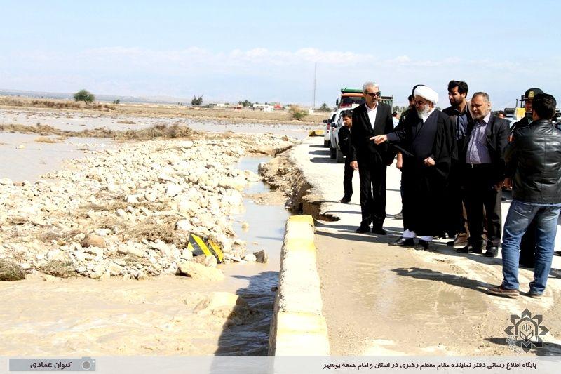 بازدید آیت الله صفایی بوشهری از مناطق سیل زده استان بوشهر